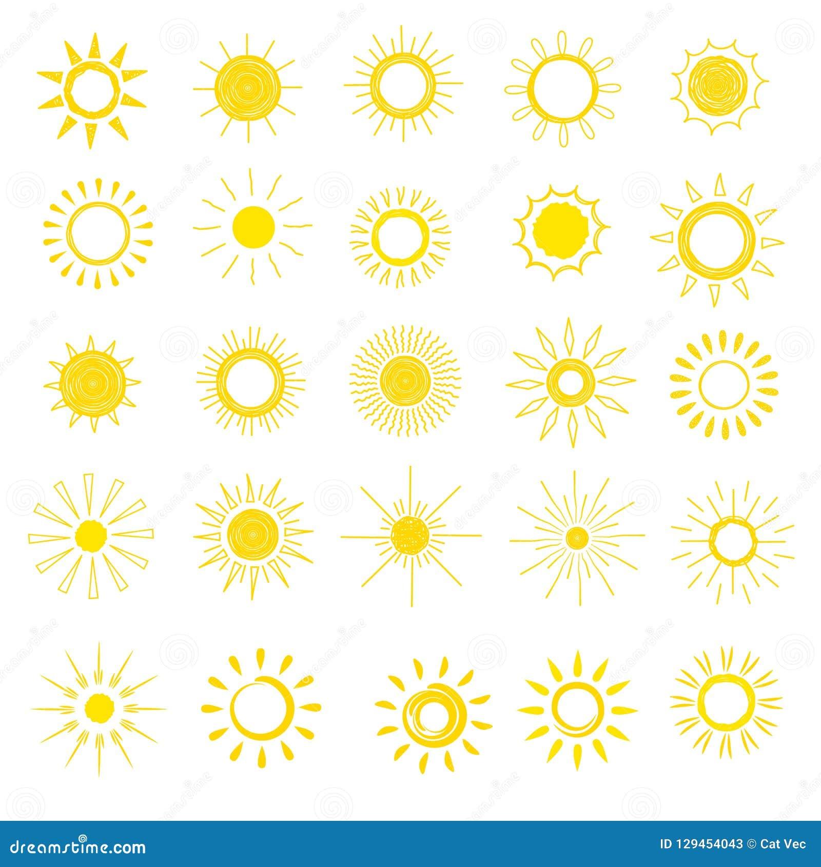 Zon vector zonnig pictogram met geel zonlicht en reeks van de het ontwerpillustratie van de zonneschijn de lichte hitte grafische
