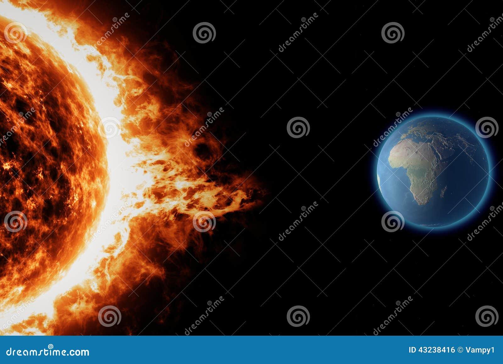 Zon, zonneonweer van het aarde het ruimteheelal
