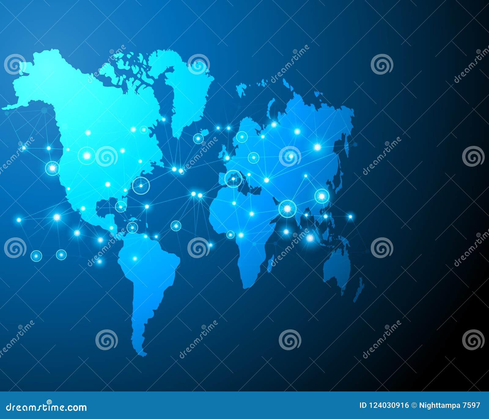 Zona digital do negócio do sistema on-line do bigdata do cyber do mapa do mundo por