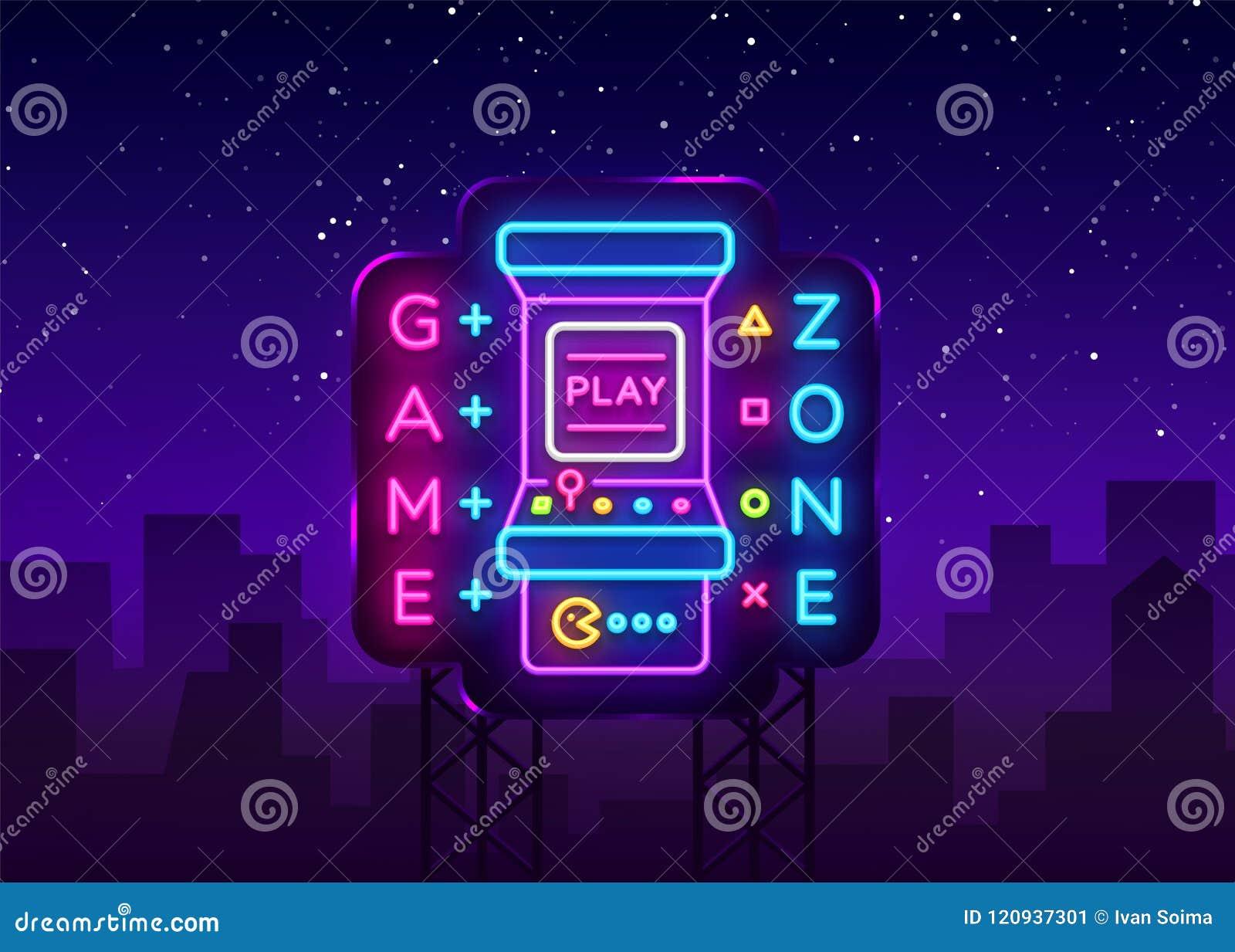 Zona Logo Vetora Neon do jogo Placa do sinal de néon da sala de jogo, molde do projeto, propaganda da indústria do jogo, máquina