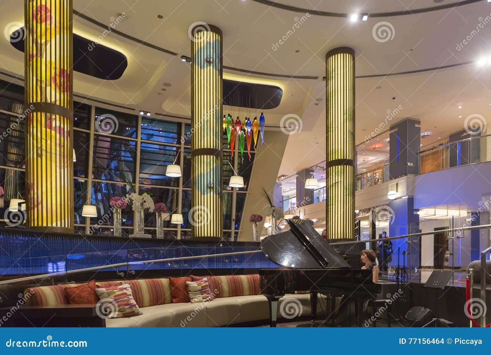 Zone d entrée de réception dans l hôtel luxueux, Dubaï, EAU