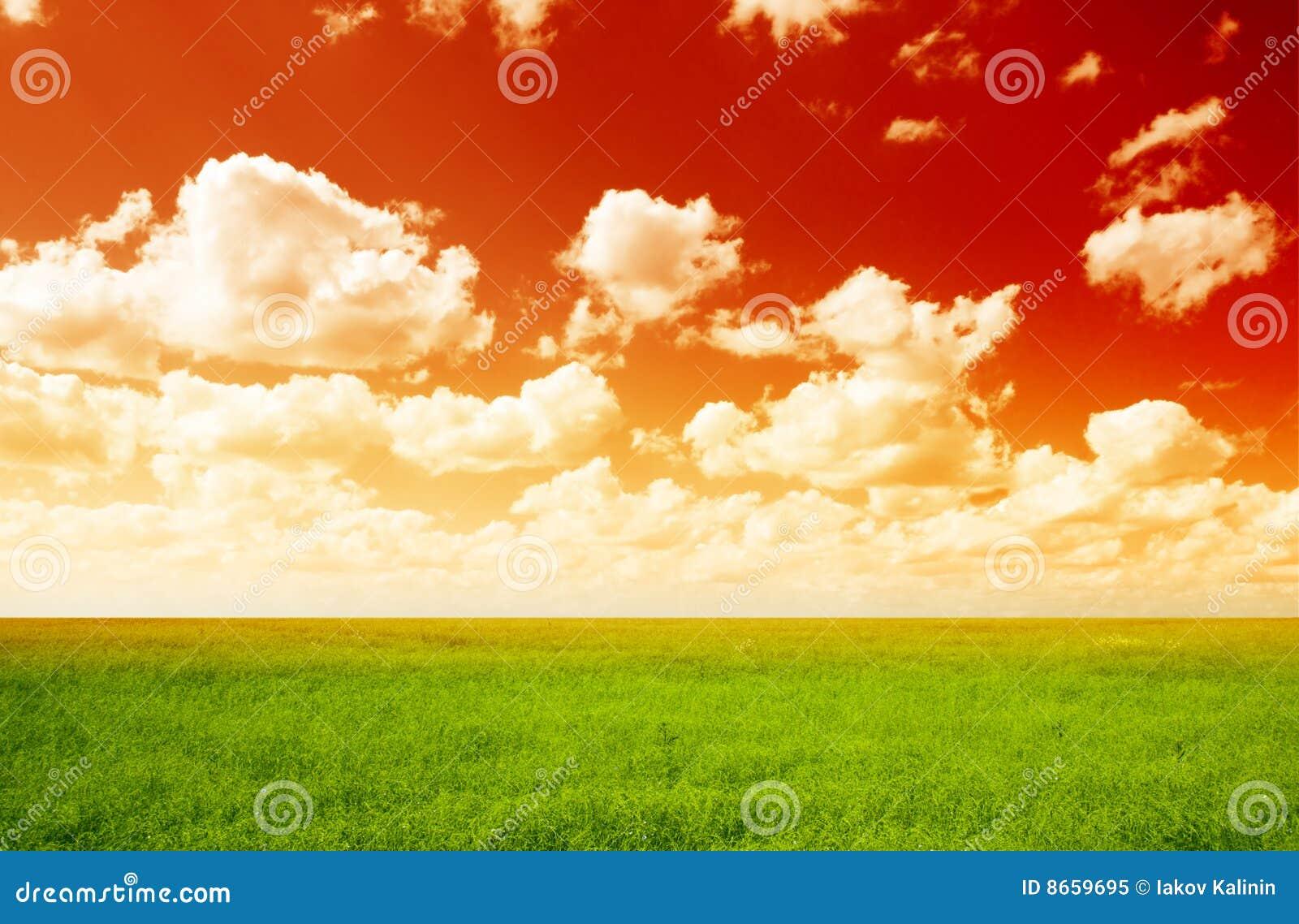 Zone de lin textile et de ciel rouge