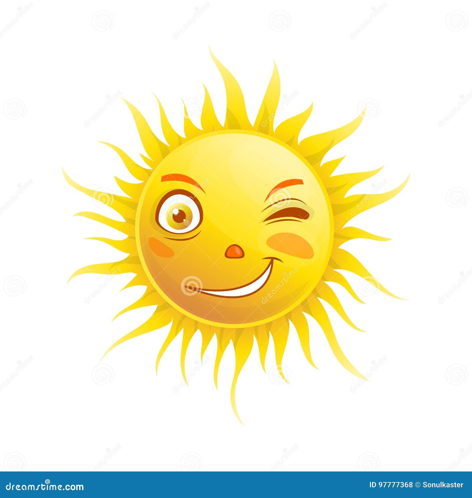 Zonglimlach het knipogen van het emojigezicht van de beeldverhaal emoticon zomer het vectorpictogram