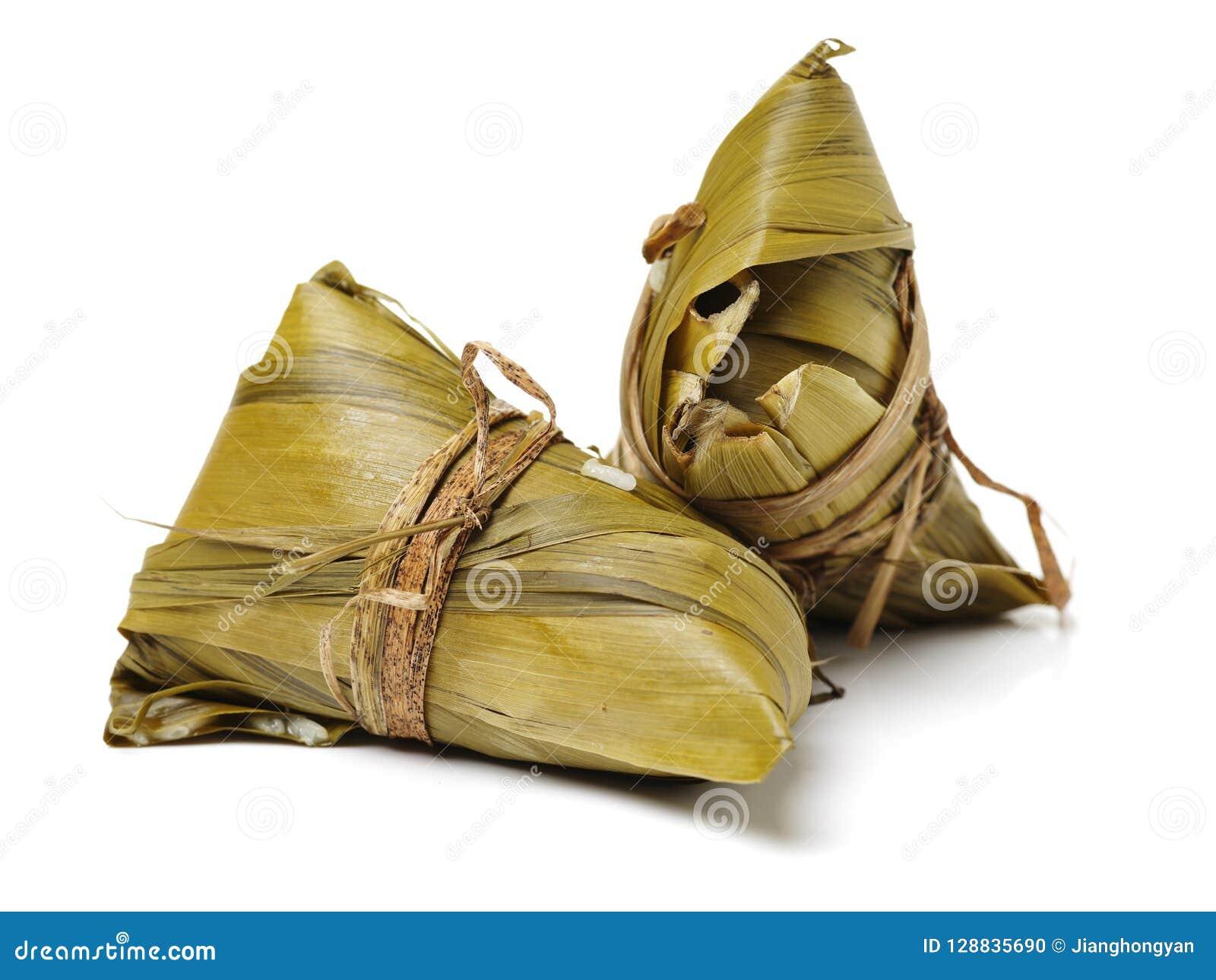 Zongzi; risgrynsgröt för traditionell kines som ätas under festival för drakefartyg