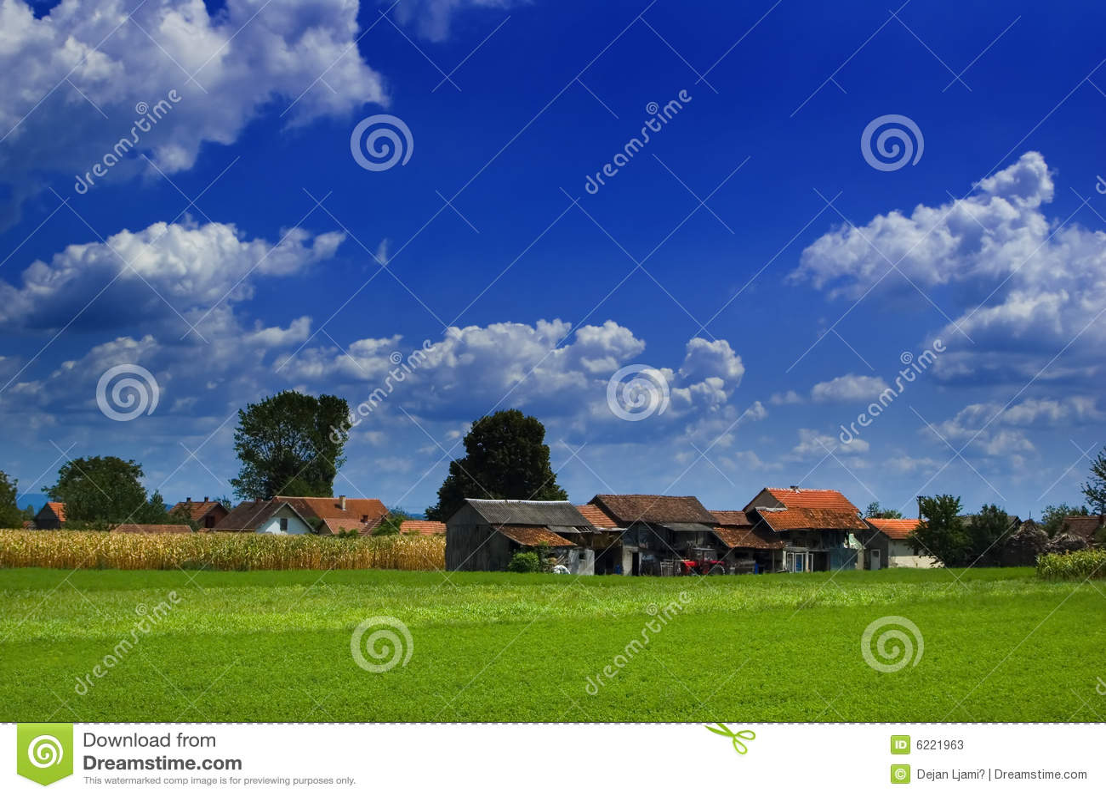 Zonlicht op landbouwbedrijven