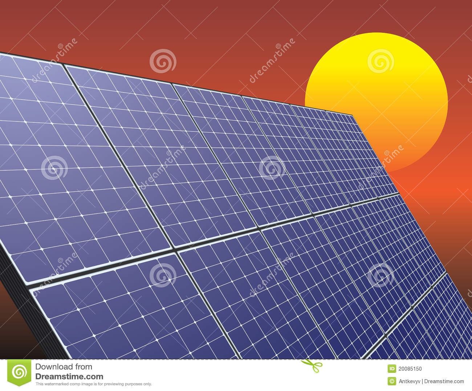 Zonne-energiepaneel over zonsopganghemel