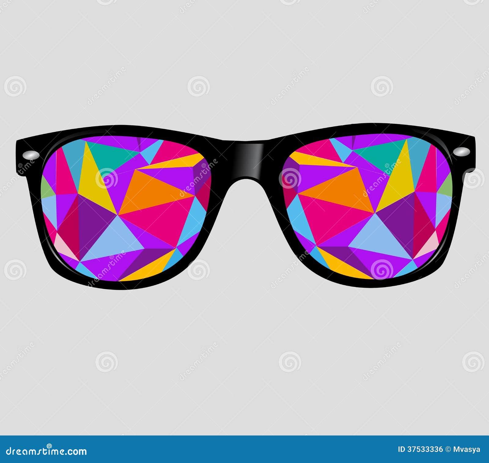 Zonnebril met abstracte geometrische driehoeken. vect