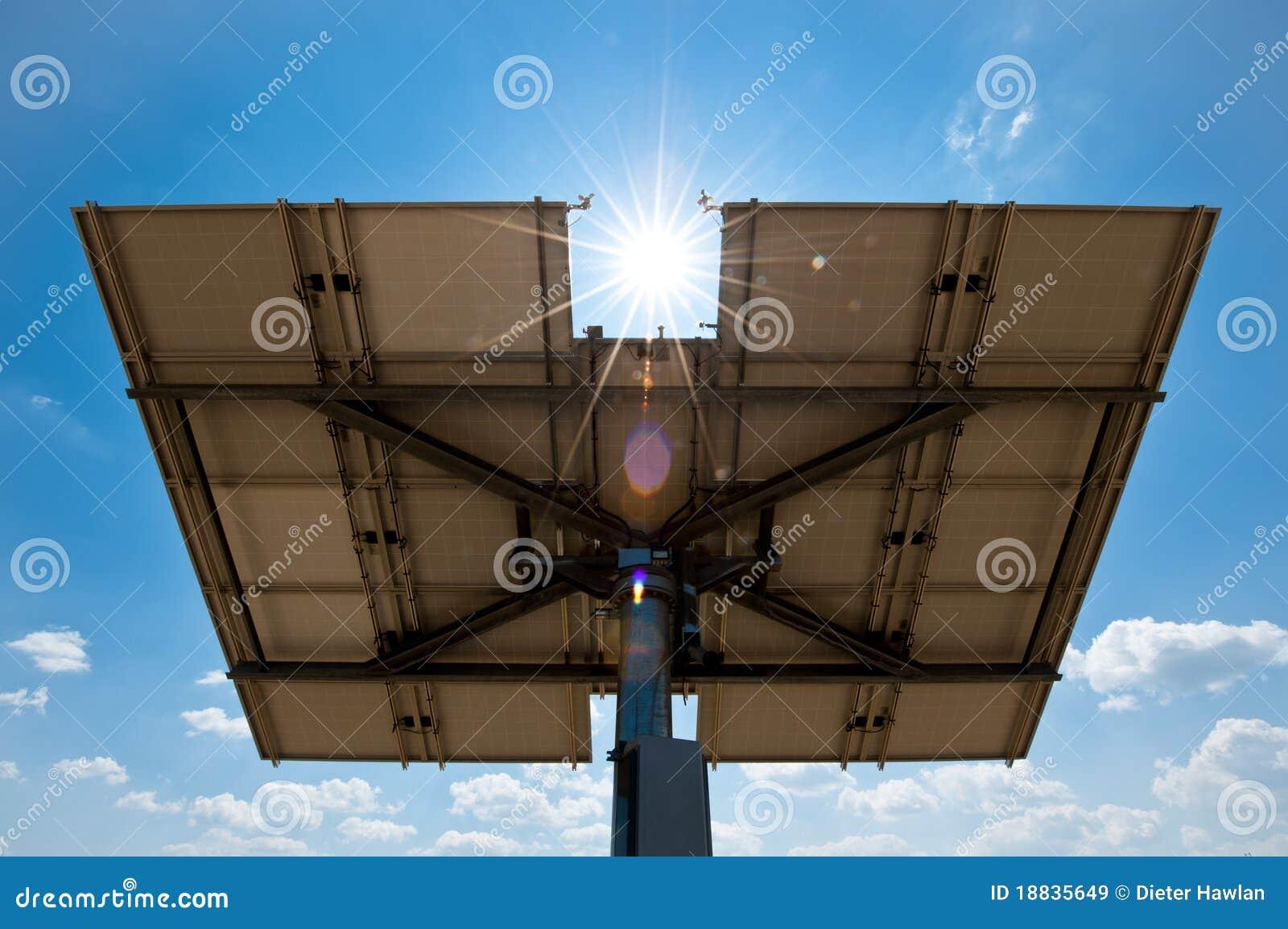 Zonnepaneel van erachter