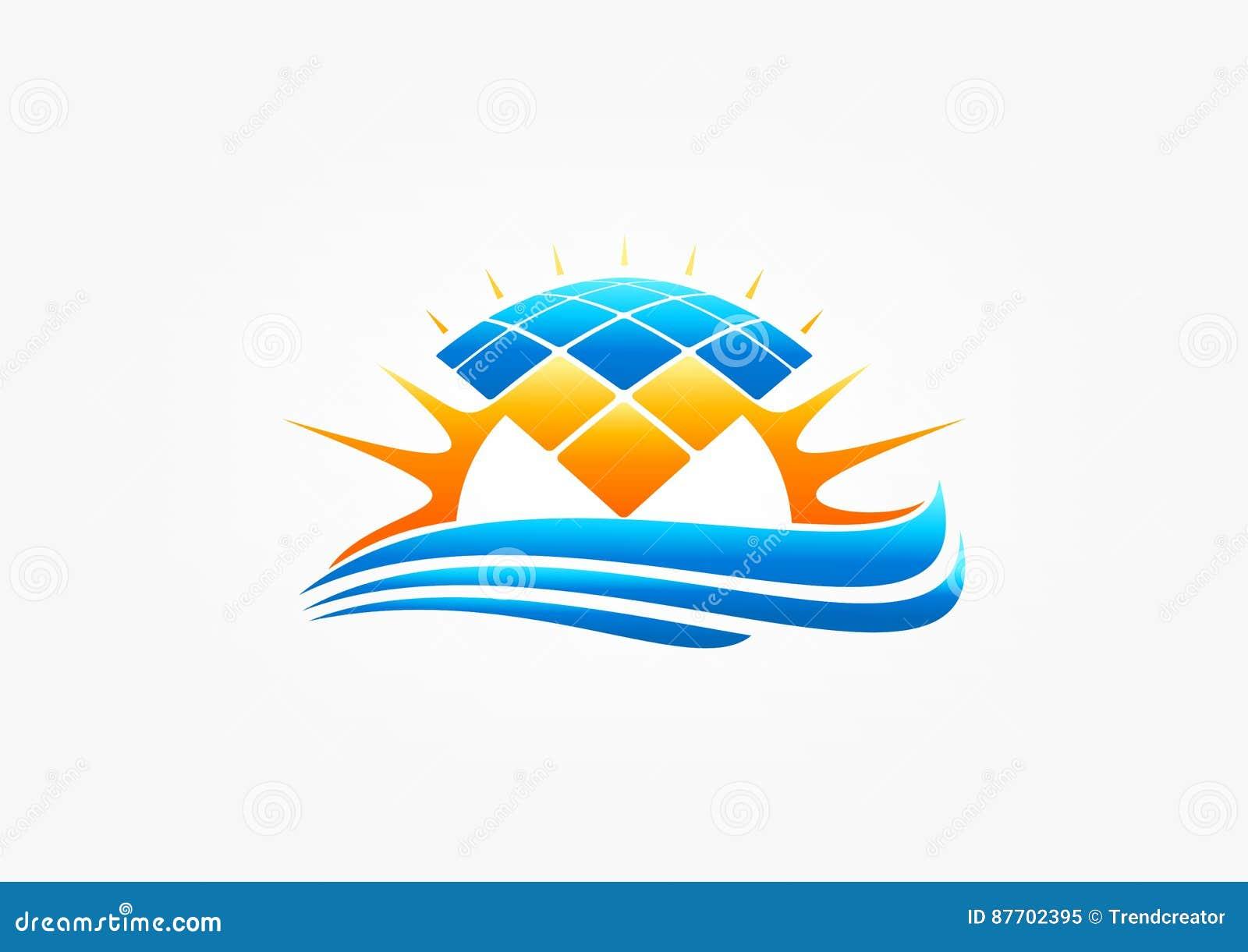 Zonnepaneelembleem, zon modul symbool, de elektriciteit van de aardgolf, wind het verwarmen, machtspictogram, en energieconcepton