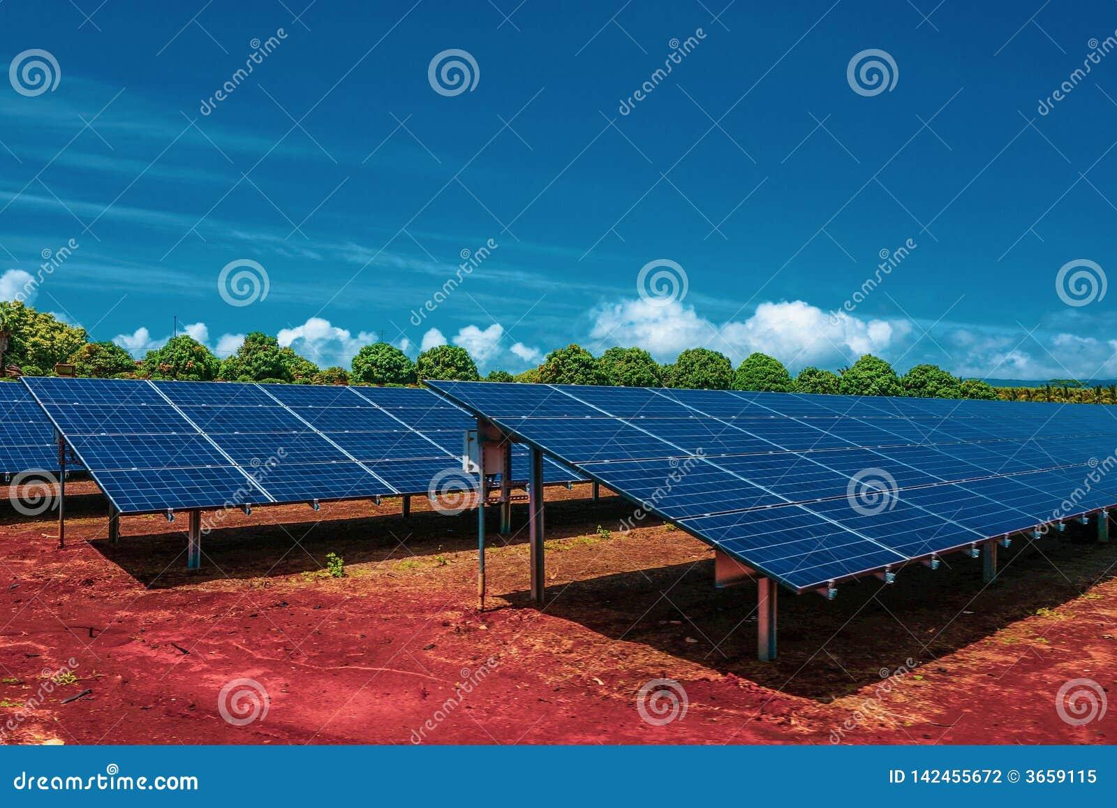 Zonnepanelen, photovoltaics die, alternatieve energiebron, zich op de rode grond met heldere blauwe hemel en groene bomen bevinde