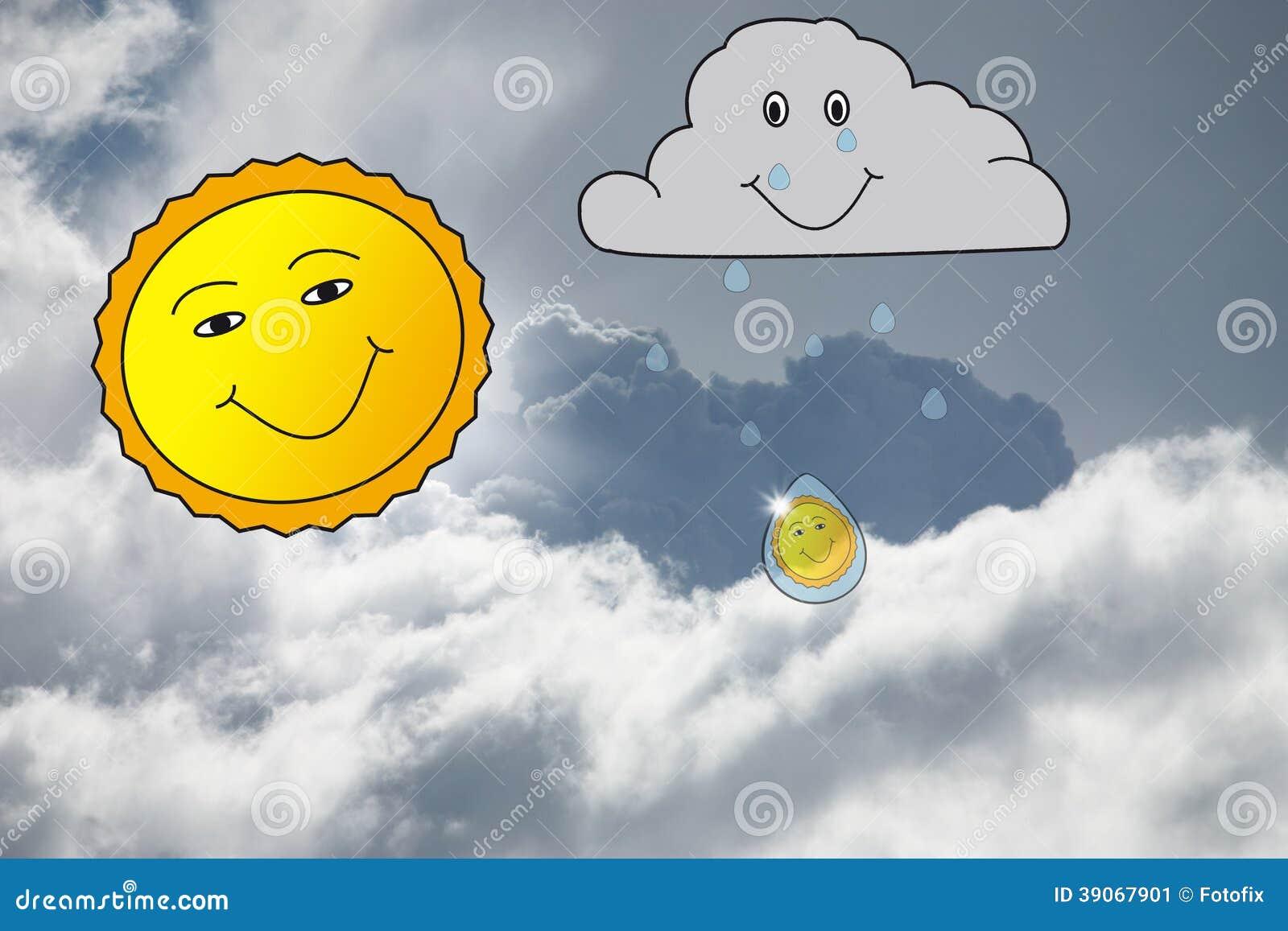 Regen En Zonneschijn : Zonneschijn en regen stock illustratie illustratie bestaande uit