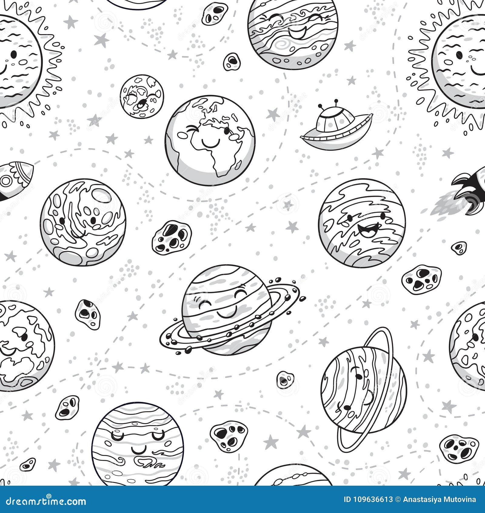Zonnestelsel naadloos patroon in beeldverhaalstijl Zon, planeten, raket en asteroïden in overzicht