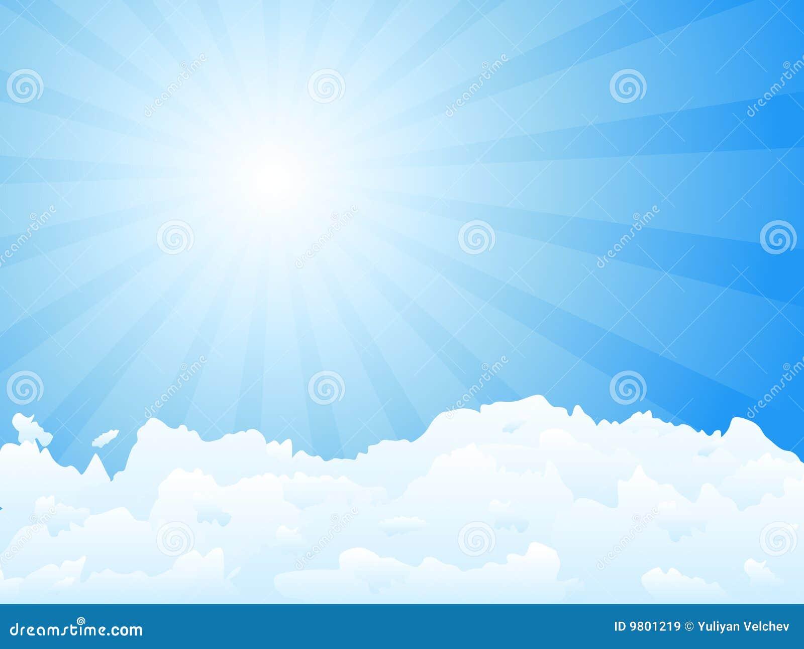 Zonnestraal en wolken