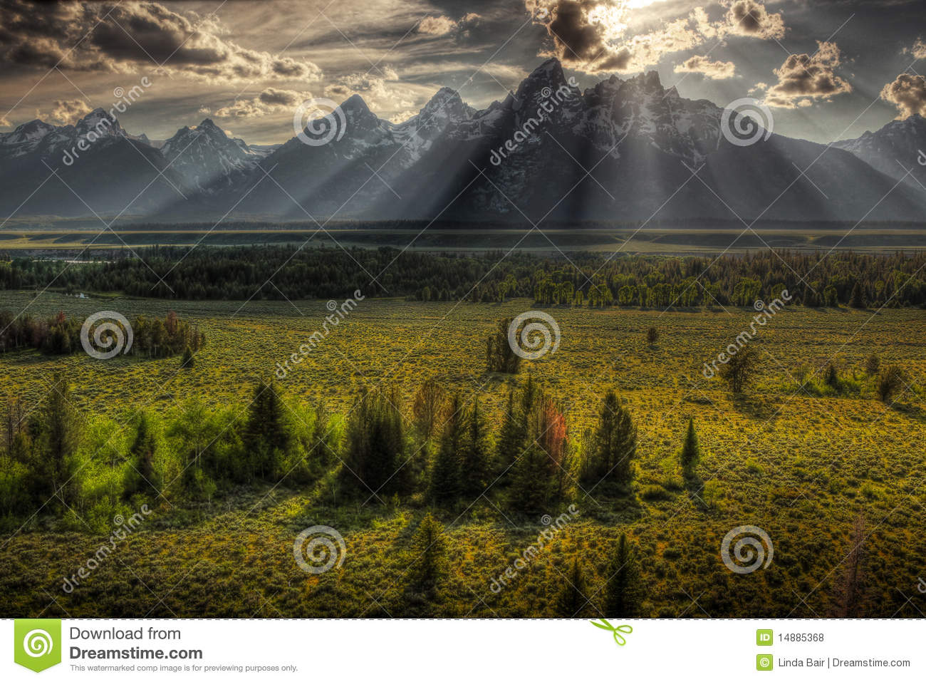 Zonnestraal over Grote Tetons