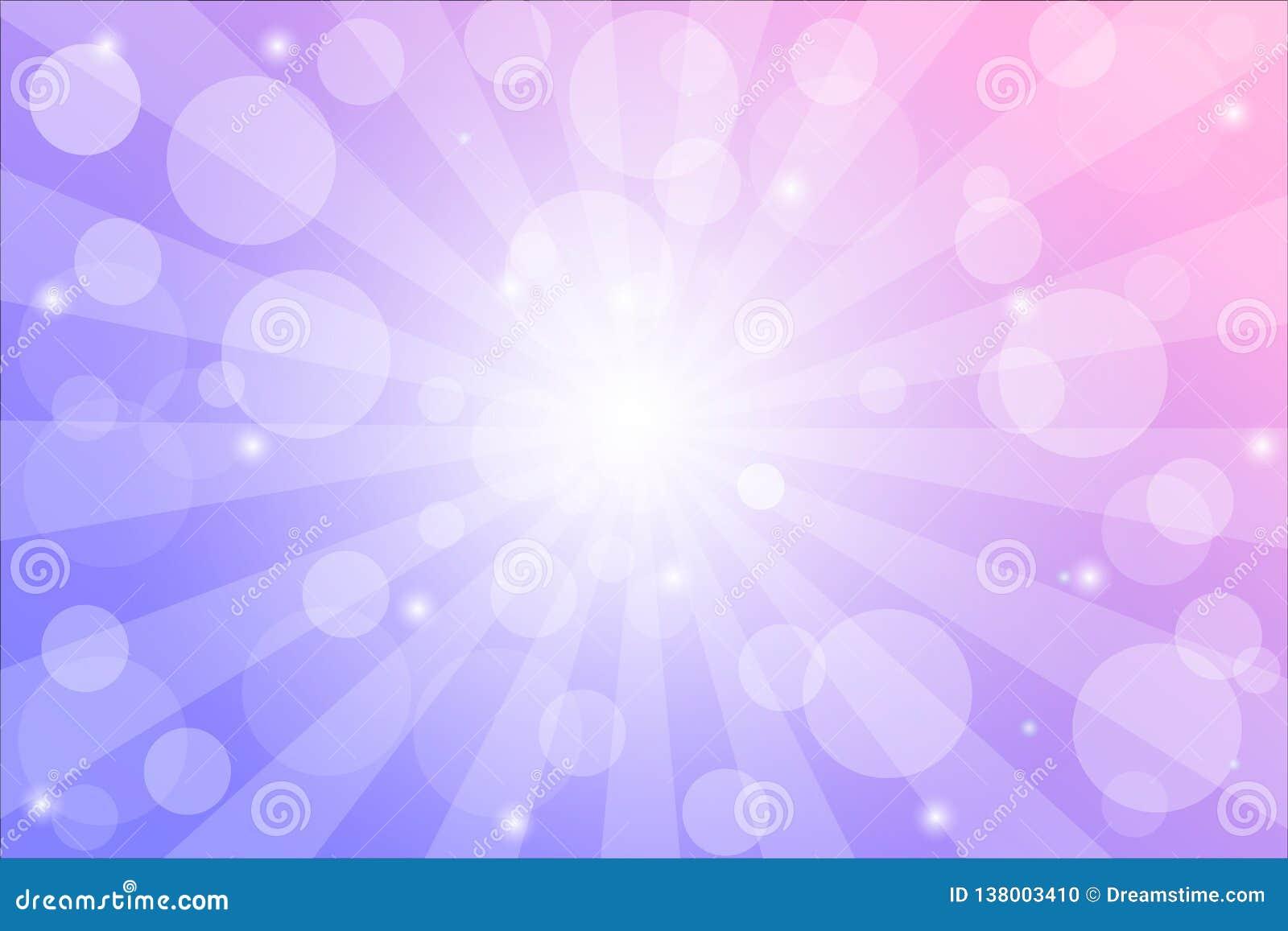 Zonnestraalachtergrond met fonkelingen en stralen, vectorillustratie met bokehlichten