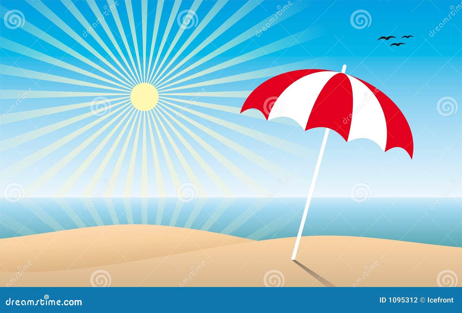 Zonnig strand stock fotografie afbeelding 1095312 - Zon parasol ...