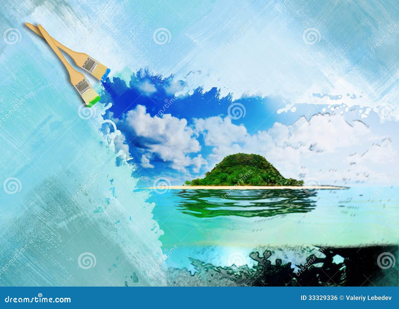 Zonnig tropisch strand op het eiland stock illustratie afbeelding 33329336 - In het midden eiland grootte ...