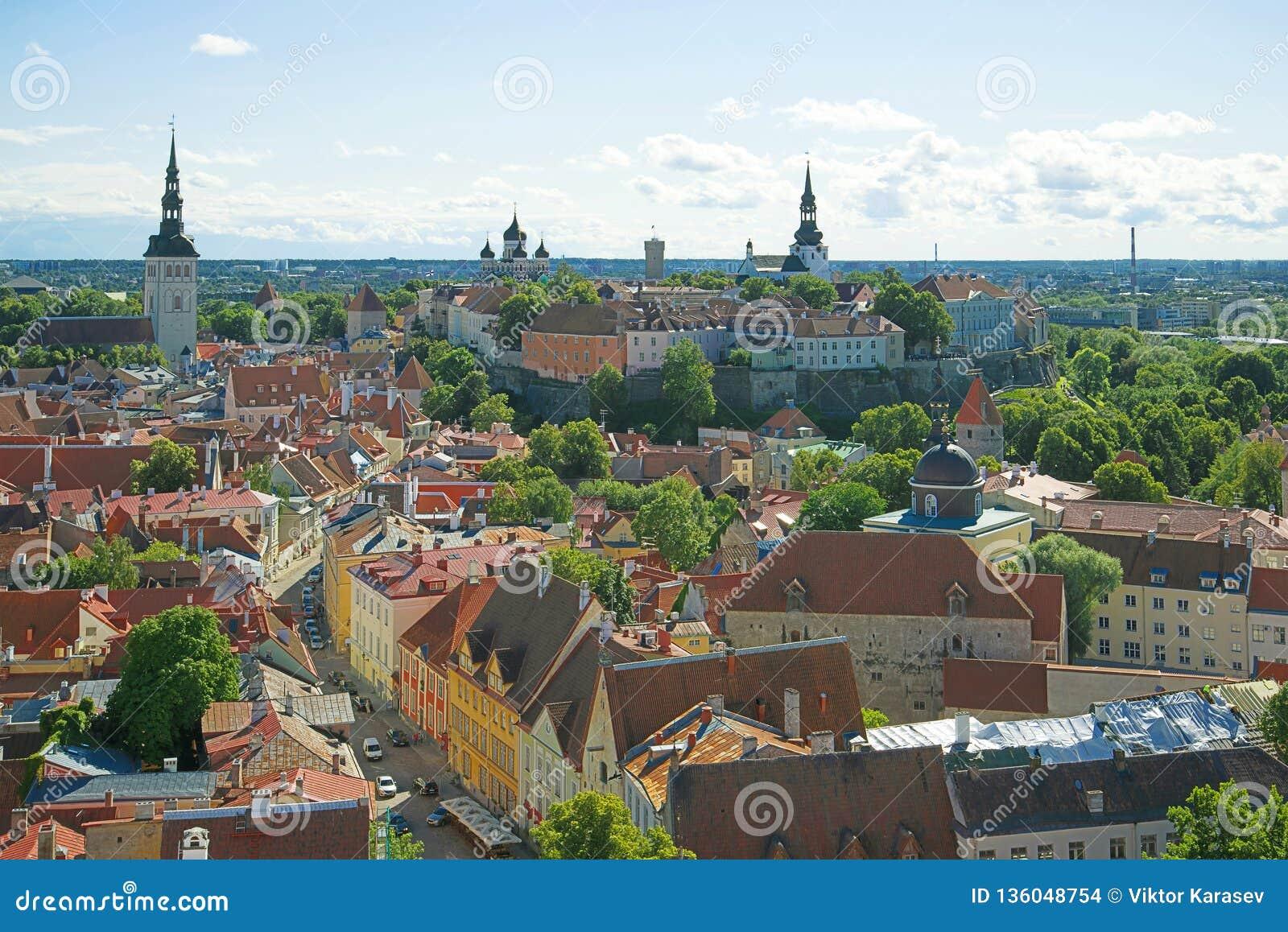 Zonnige augustus-dag in oud Tallinn, Estland