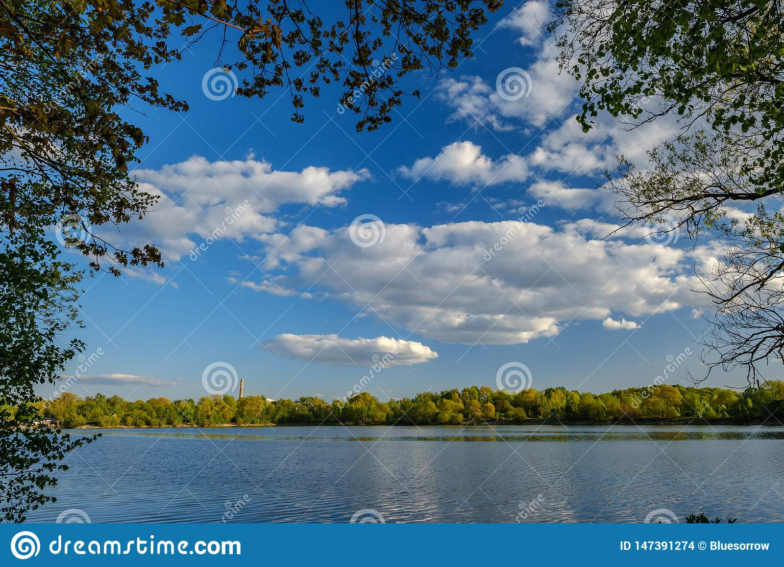 Zonnige de zomerdag door het meer met blauw water en witte wolken in de hemel