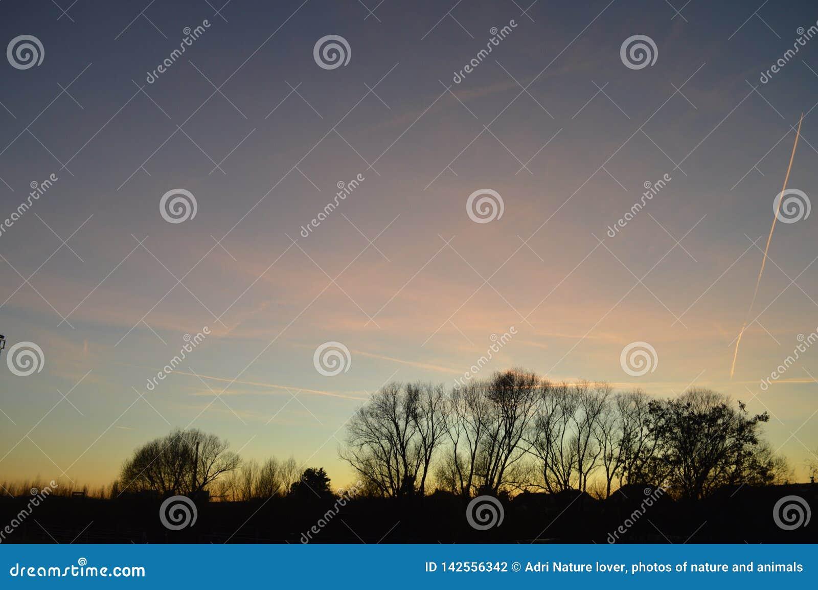 Zonsondergang bij begin van de lente