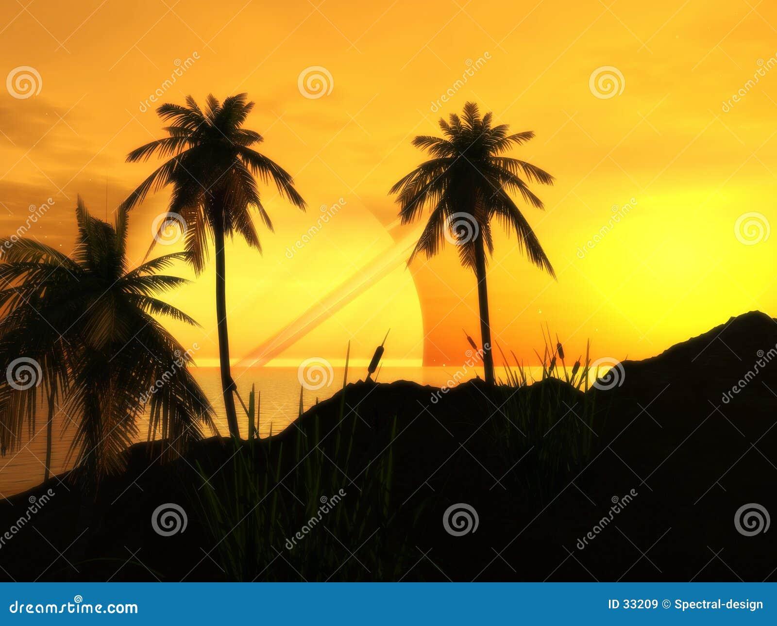 Zonsondergang bij het Strand van het Argon