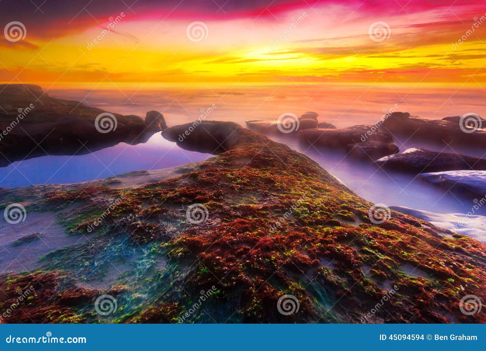 Zonsondergang bij Windansea-Strand