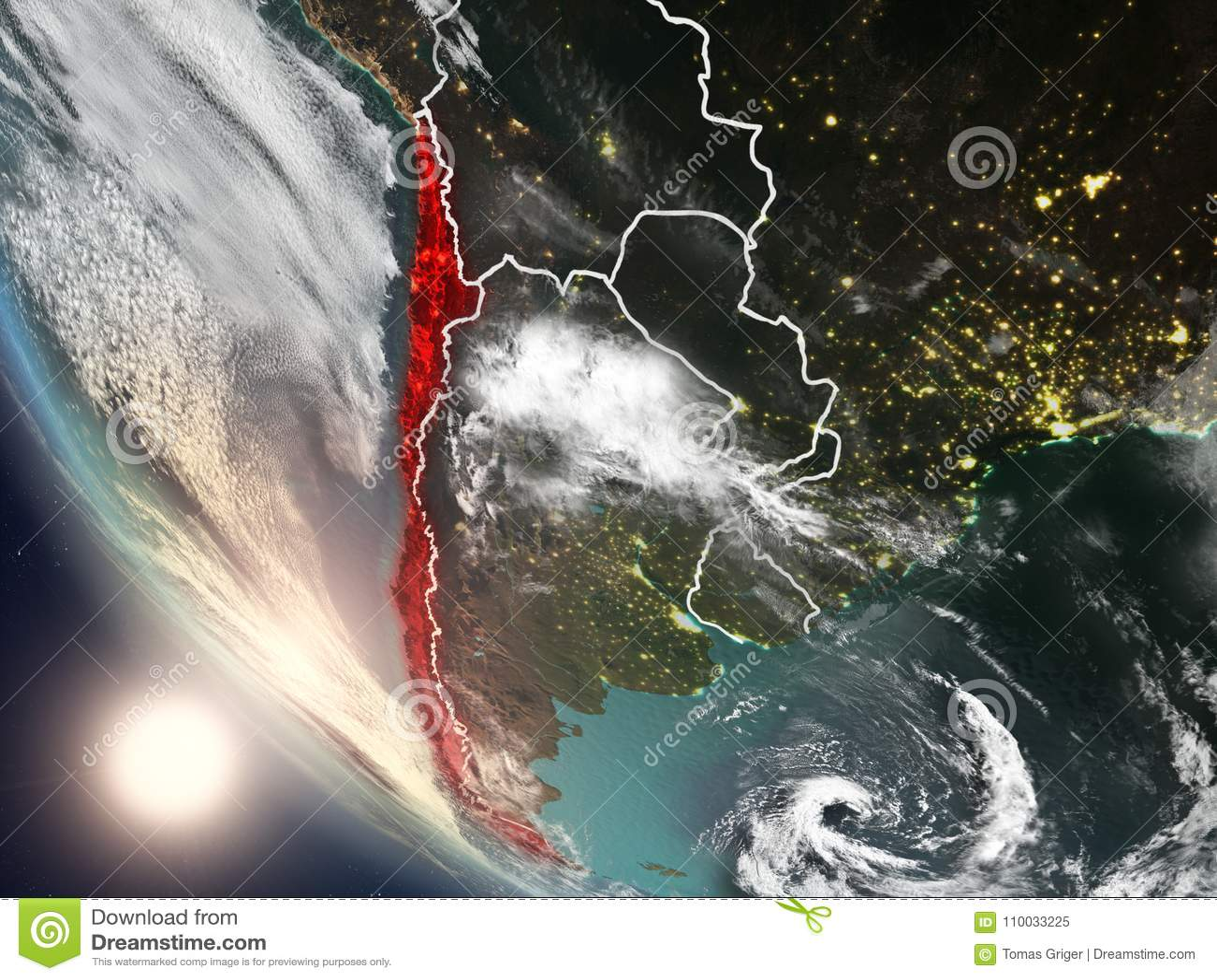 Zonsondergang boven Chili van ruimte