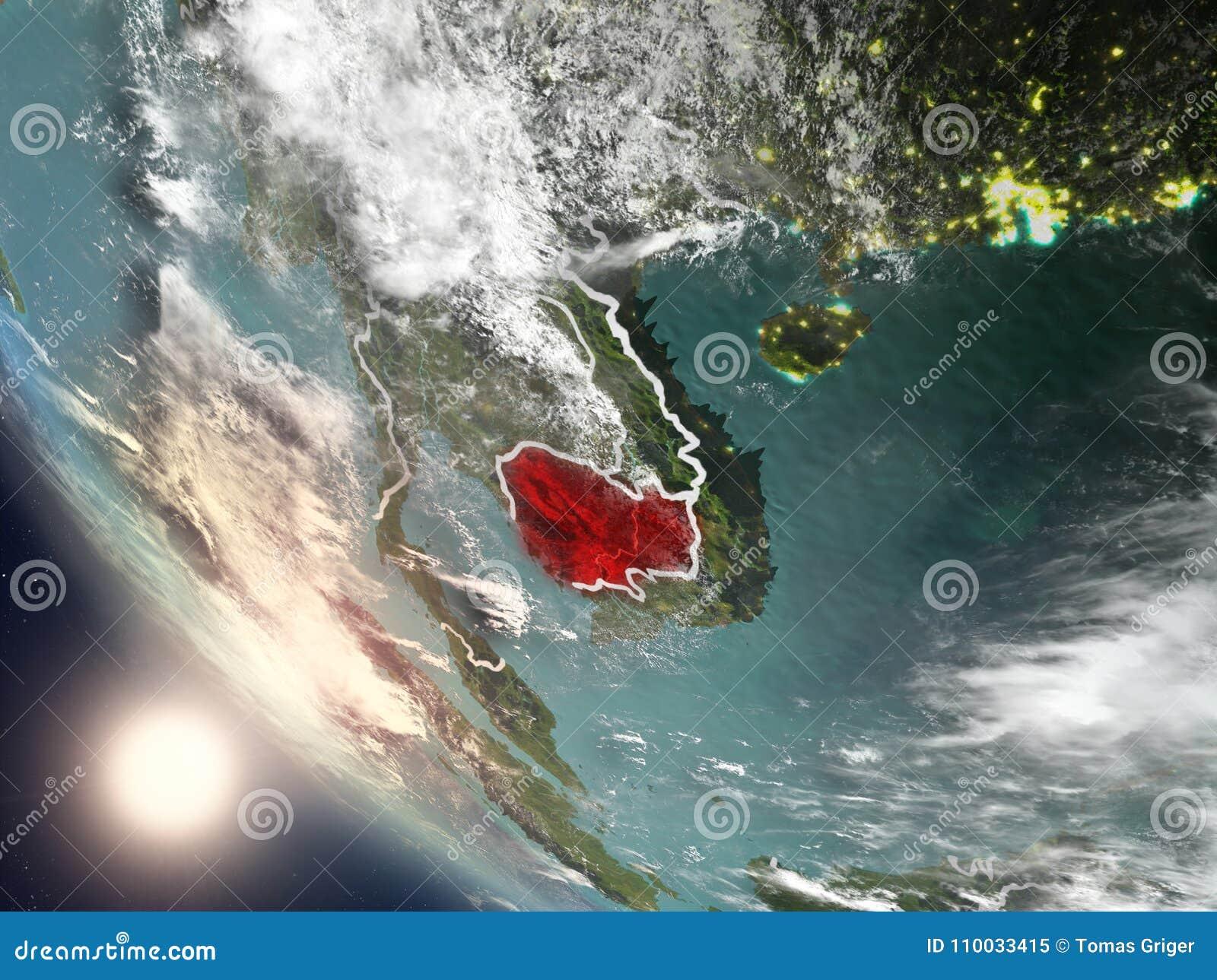 Zonsondergang boven Kambodja van ruimte