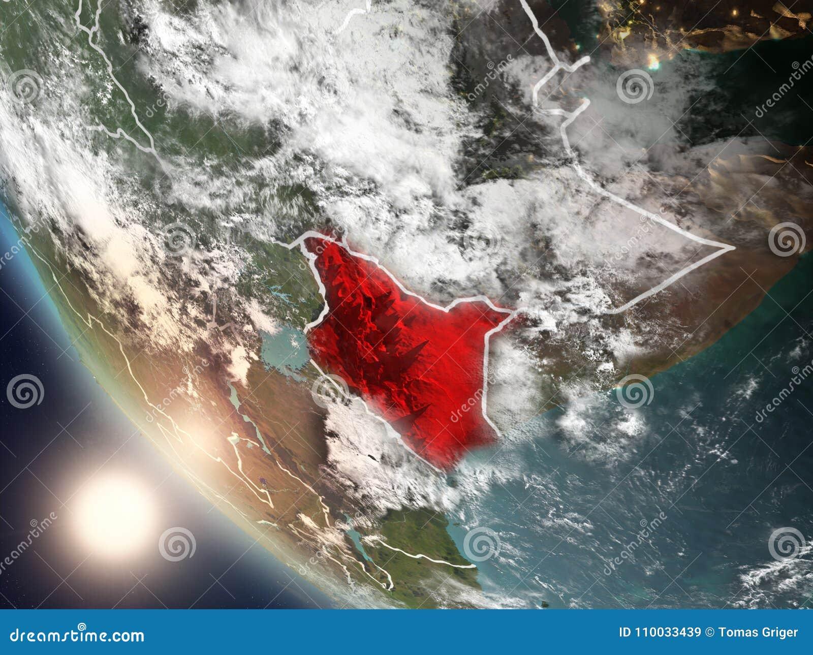 Zonsondergang boven Kenia van ruimte