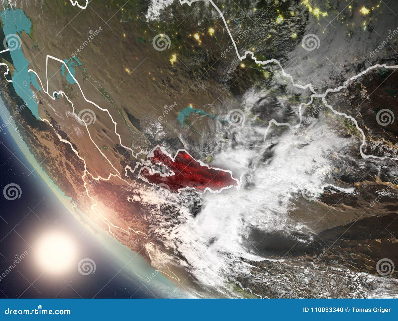 Zonsondergang boven Kyrgyzstan van ruimte