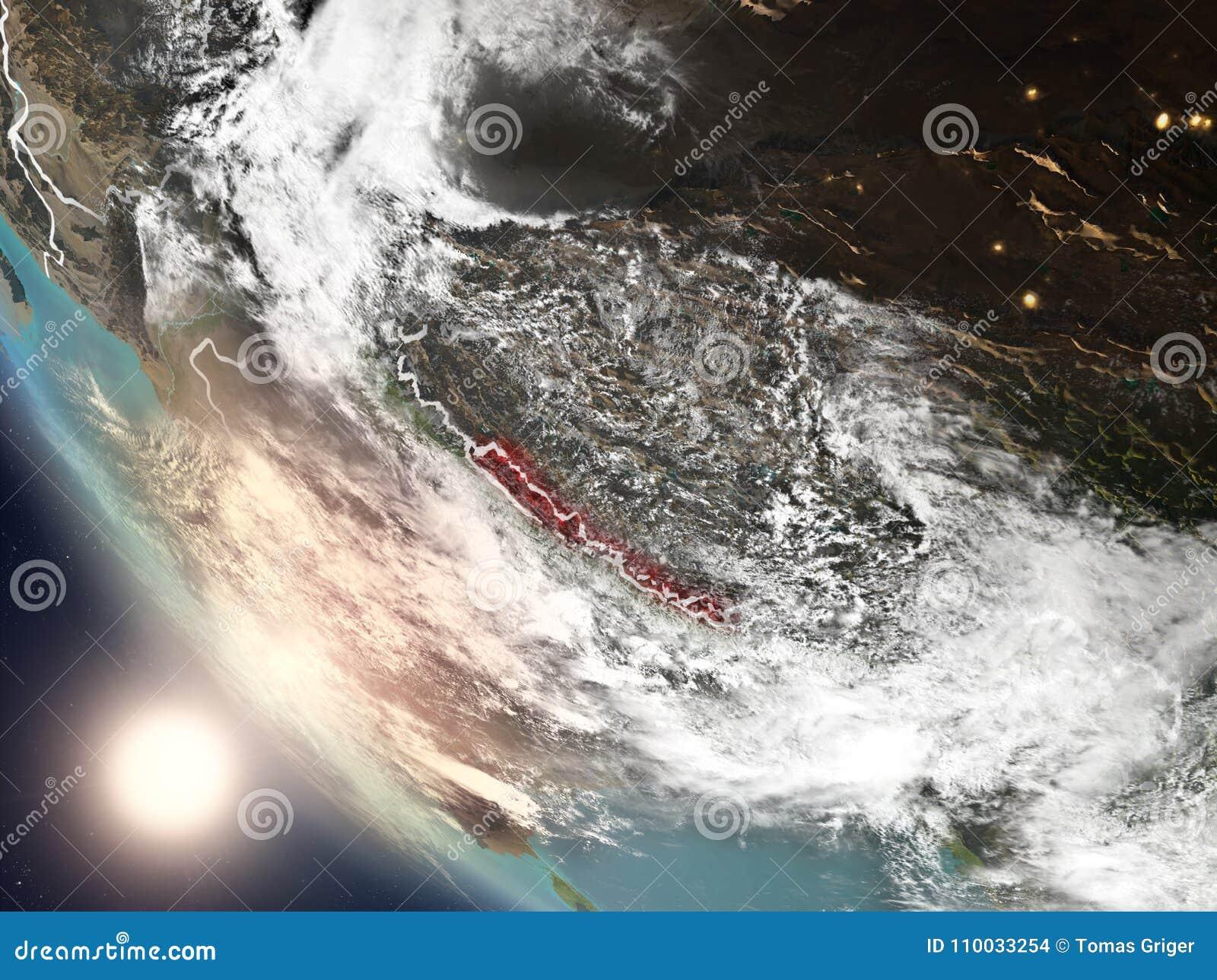 Zonsondergang boven Nepal van ruimte
