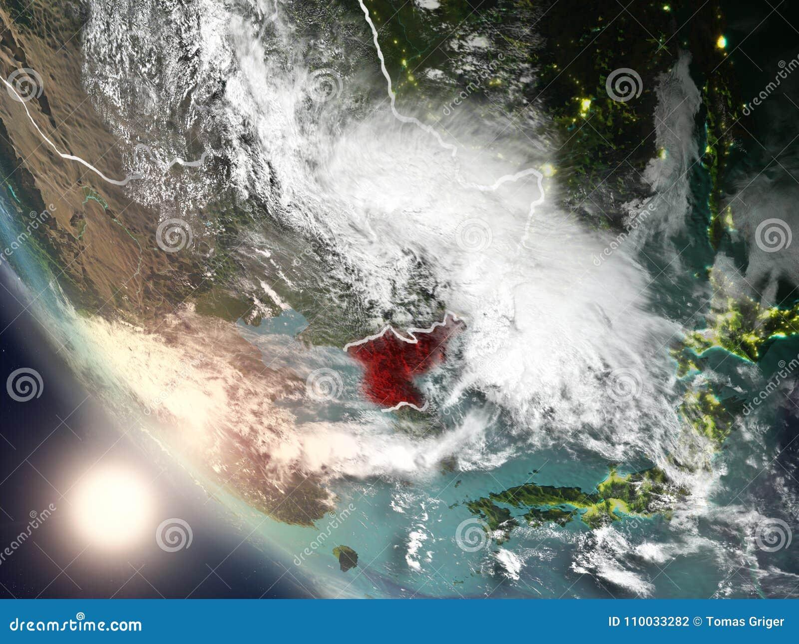 Zonsondergang boven Noord-Korea van ruimte