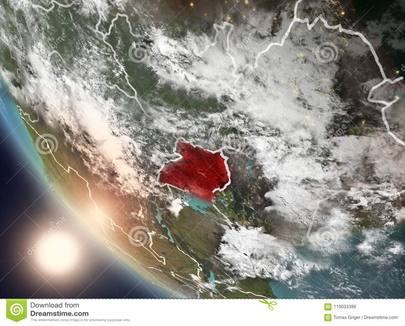 Zonsondergang boven Oeganda van ruimte
