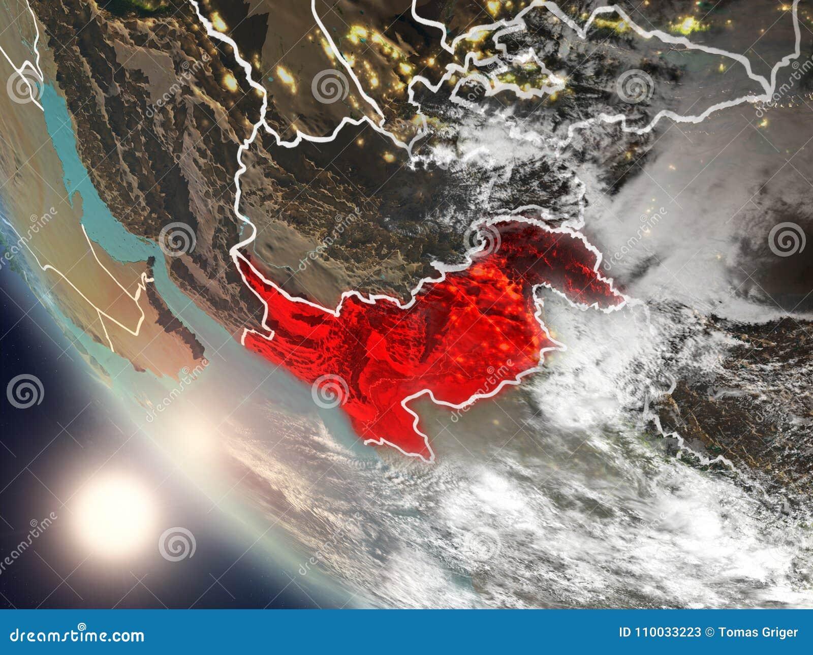 Zonsondergang boven Pakistan van ruimte