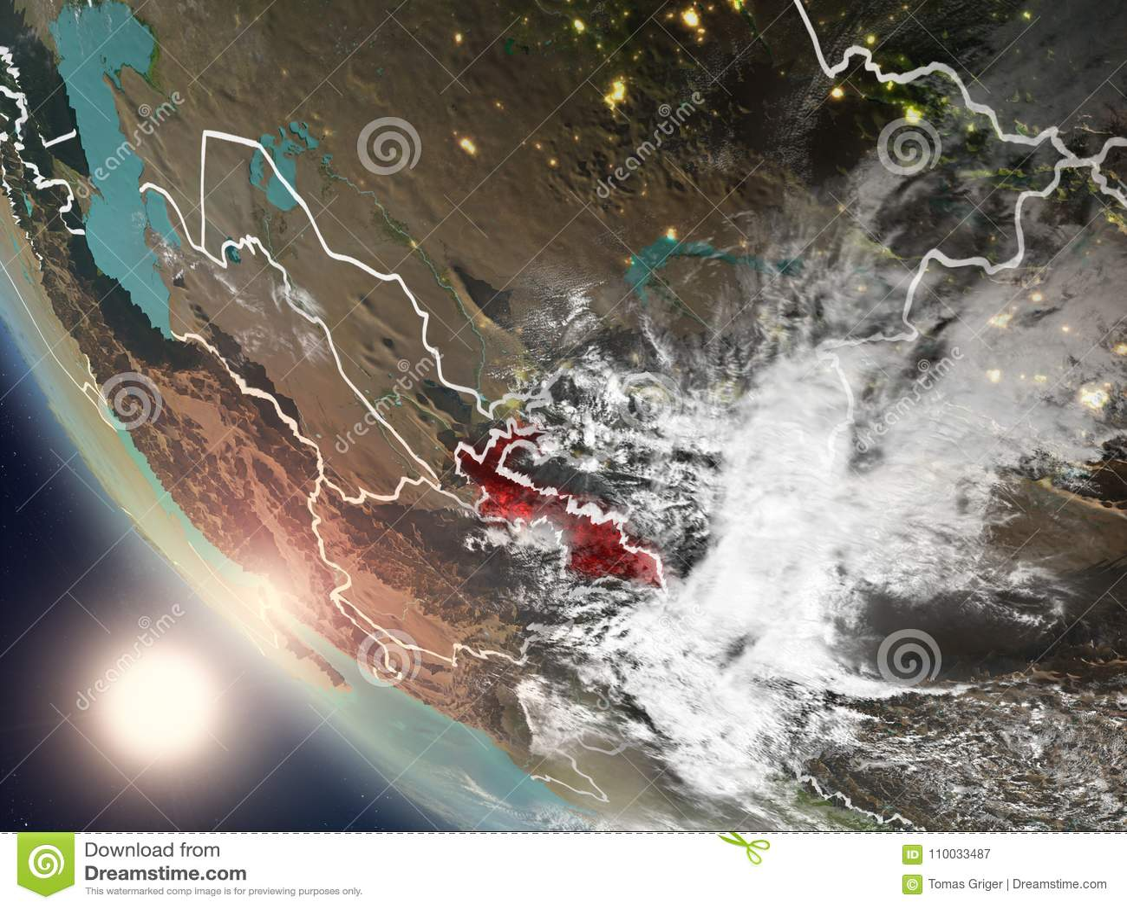Zonsondergang boven Tadzjikistan van ruimte