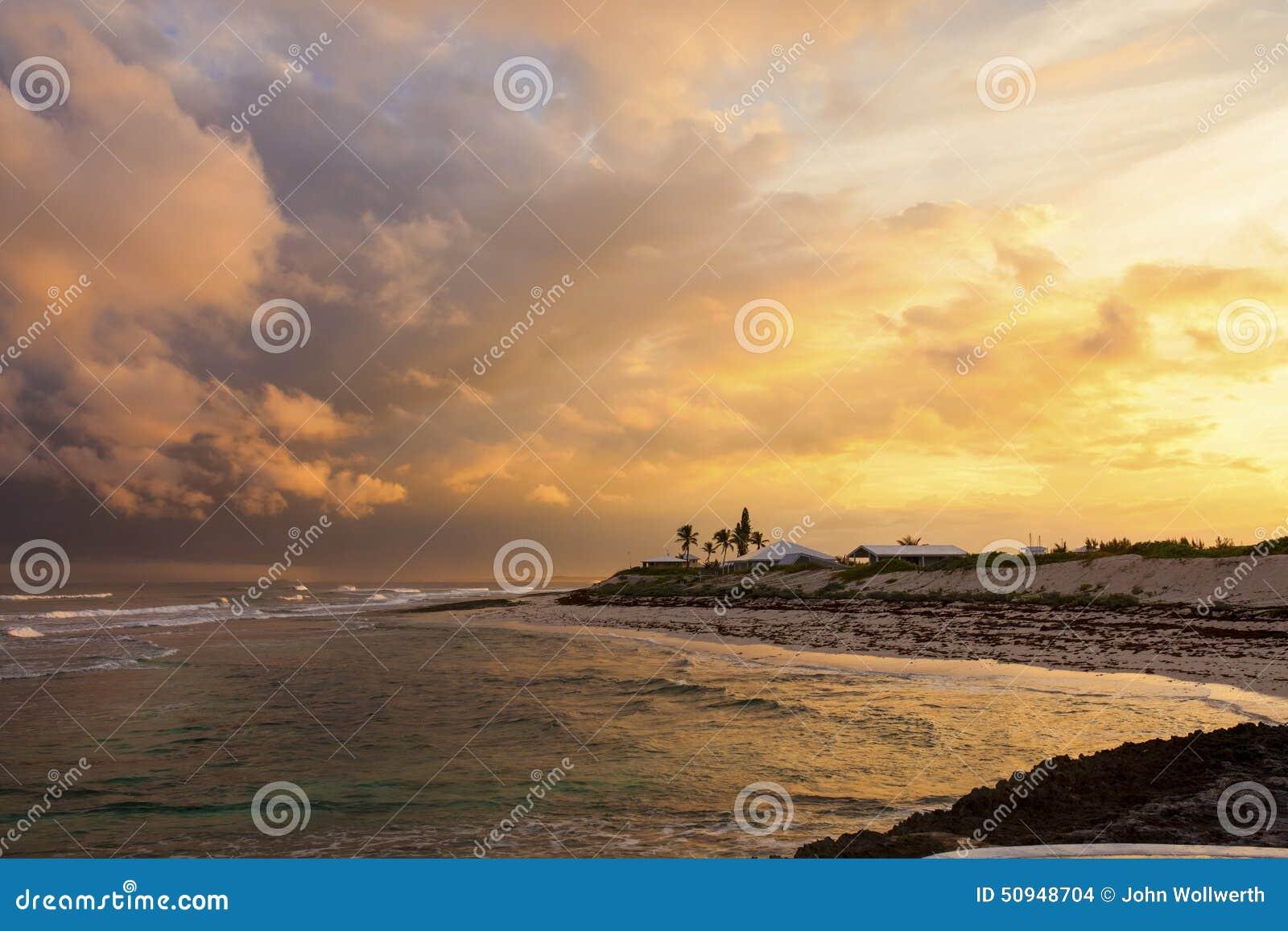 Zonsondergang in de Bahamas