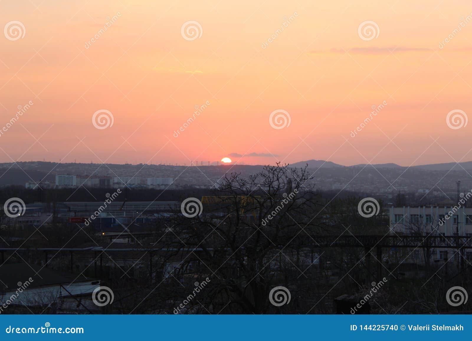 Zonsondergang in de stad