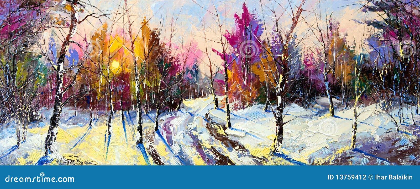 Zonsondergang in de winterhout