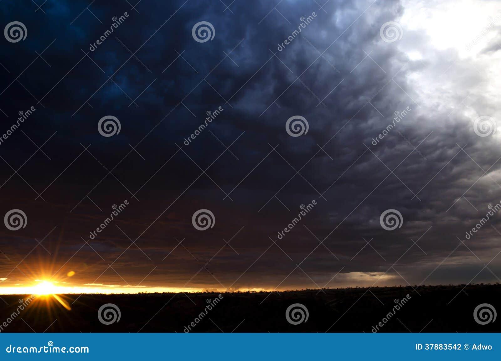 Zonsondergang in het binnenland