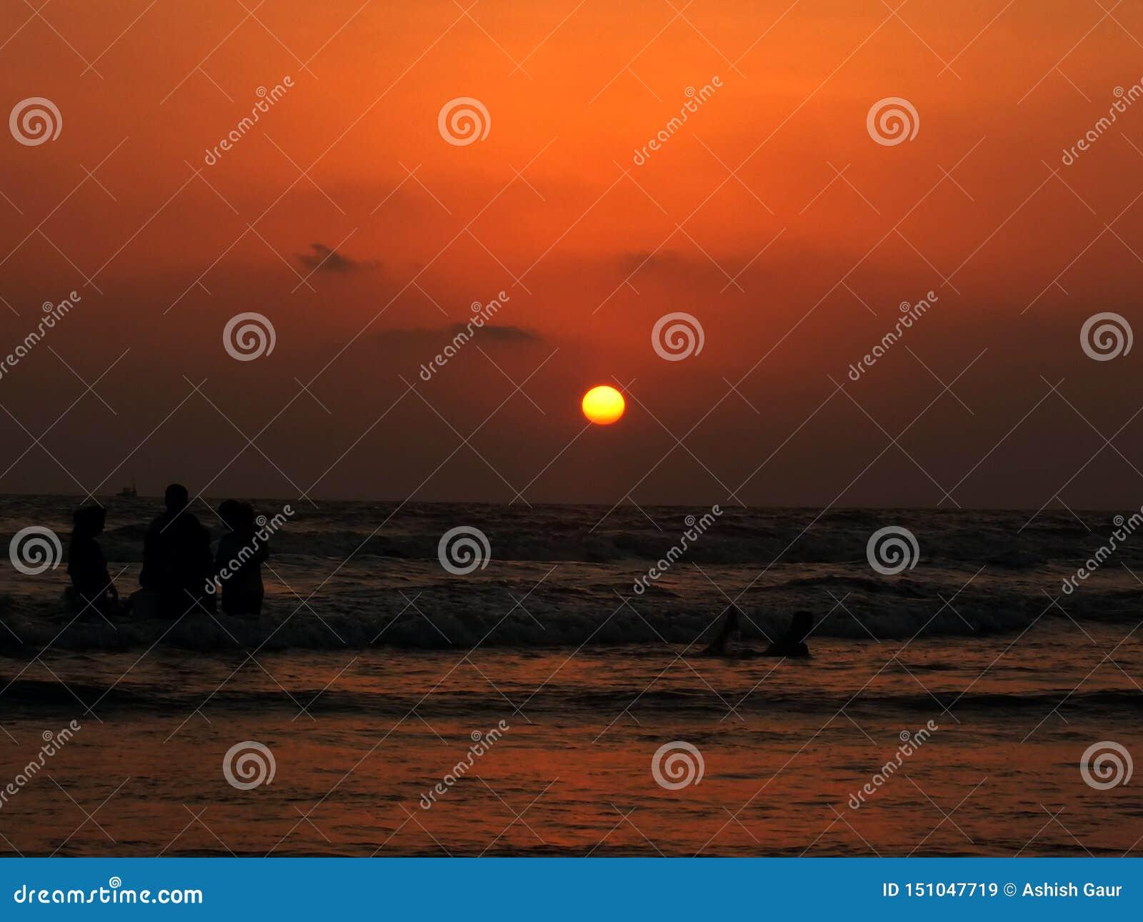 Zonsondergang in het Goa-Strand