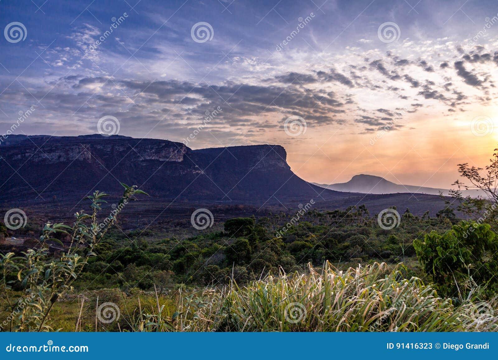 Zonsondergang in het Nationale Park van Chapada Diamantina - Bahia, Brazilië