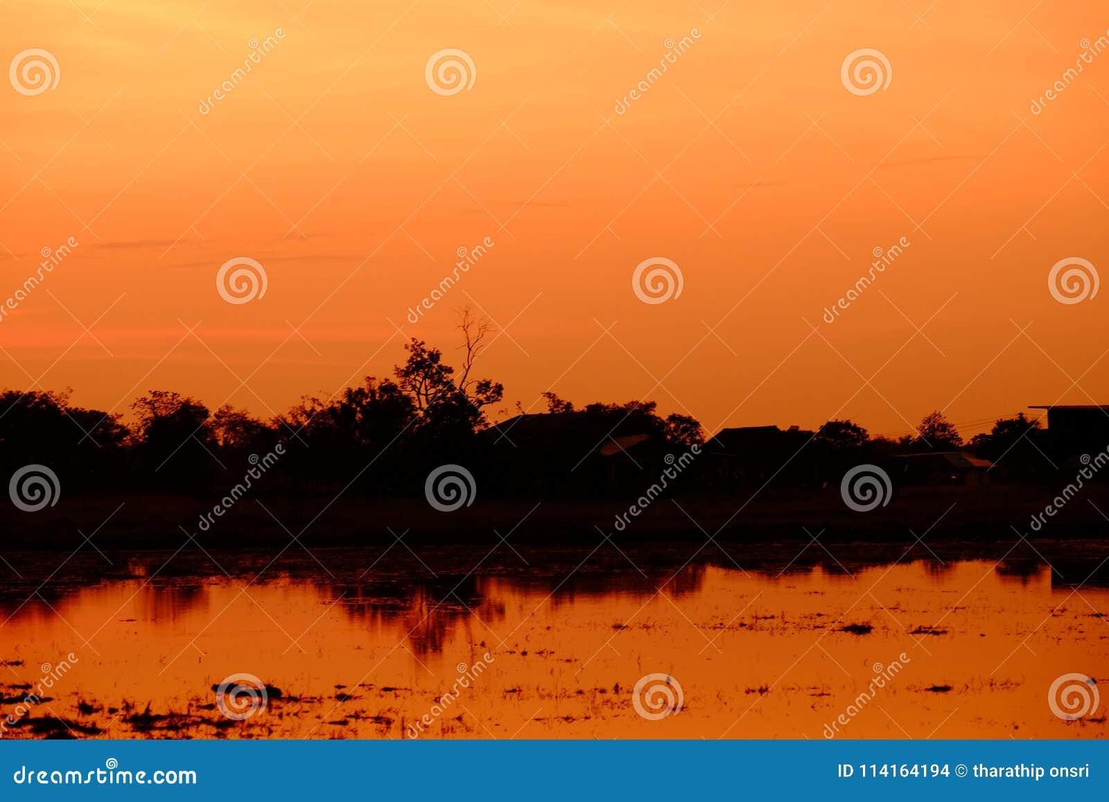 Zonsondergang met oranje elft Gouden hemel,