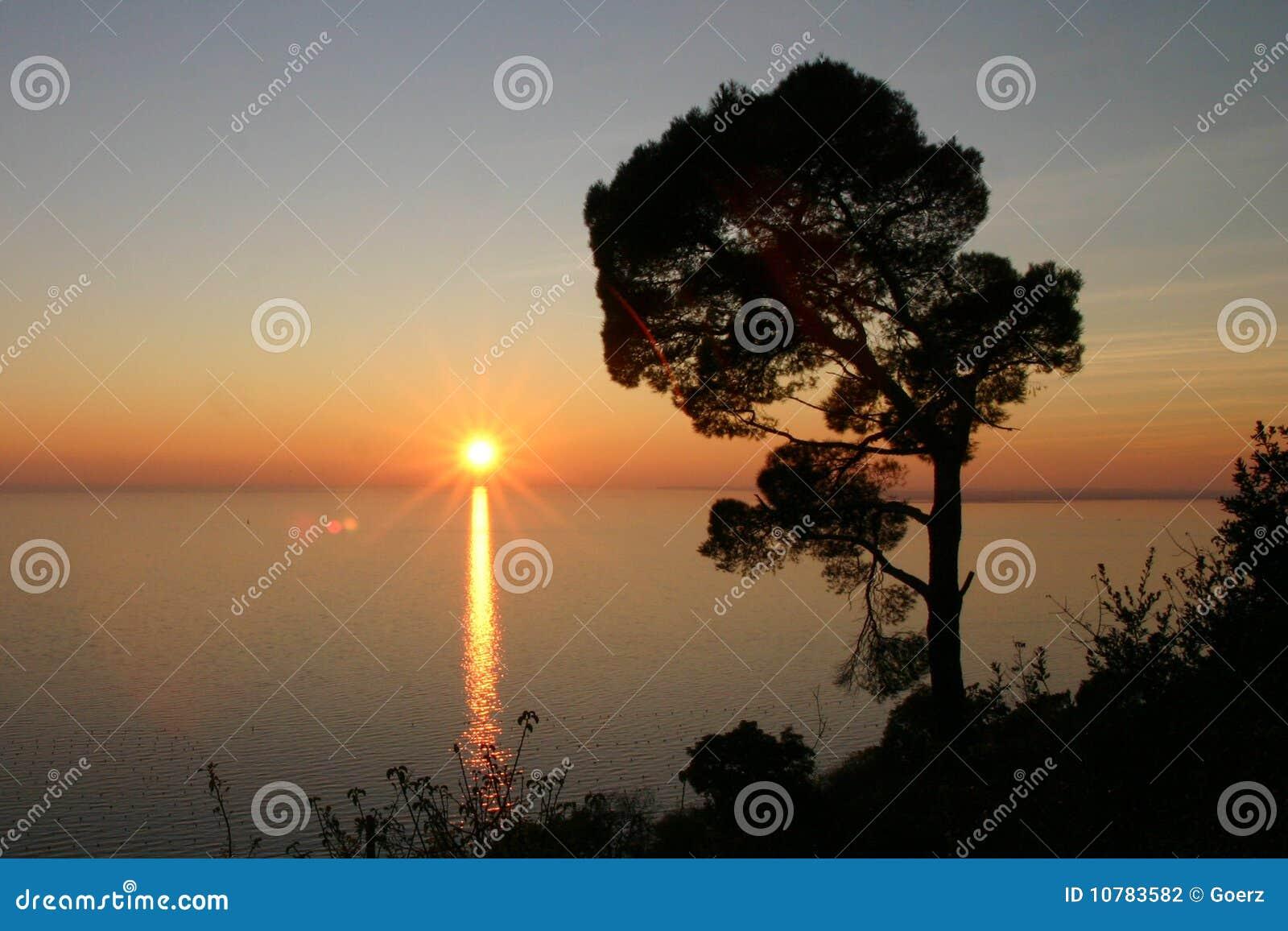 Zonsondergang op het overzees