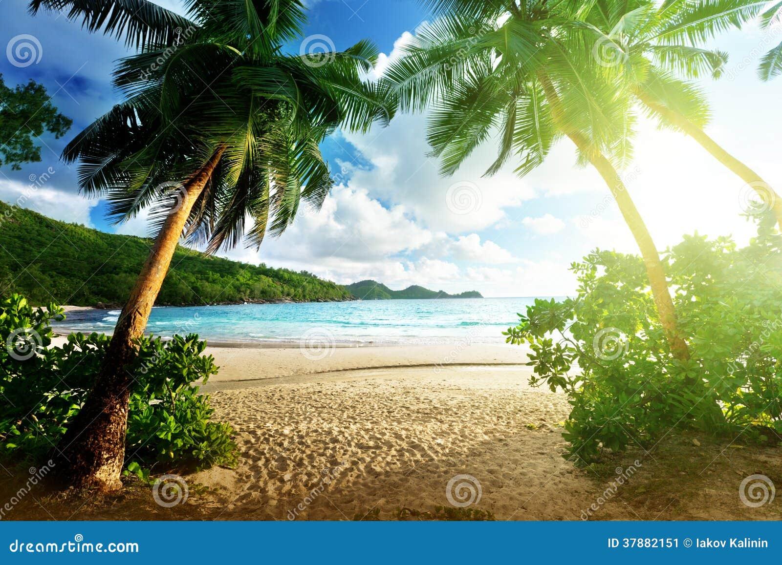 Zonsondergang op strand, Mahe-eiland