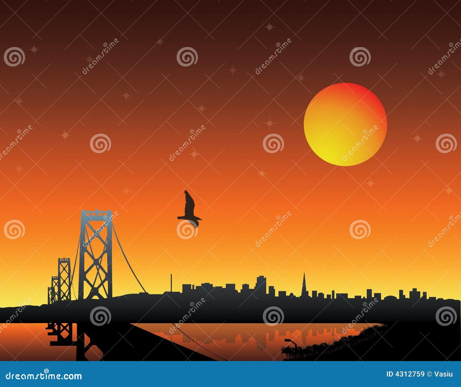 Citaten Over Zonsondergang : Zonsondergang over stad royalty vrije stock afbeeldingen