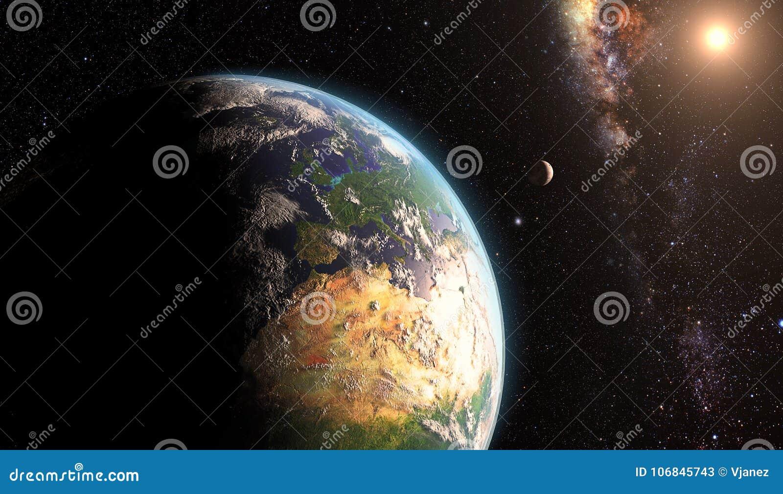 Zonsopgang over aarde met maan