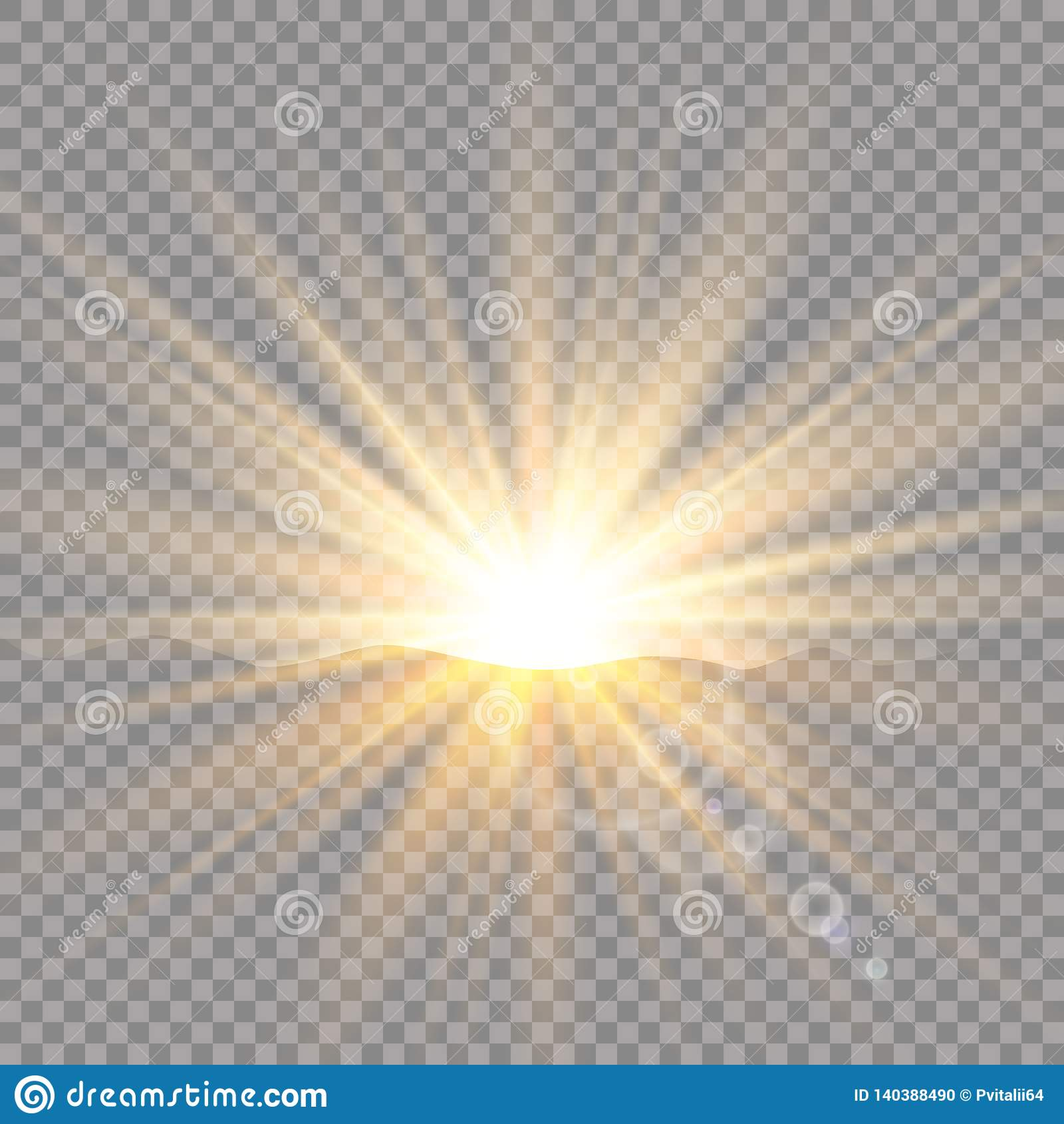 Zonsopgang over de bergen, dageraad Vector transparant zonlicht Het speciale lichteffect van de lensgloed