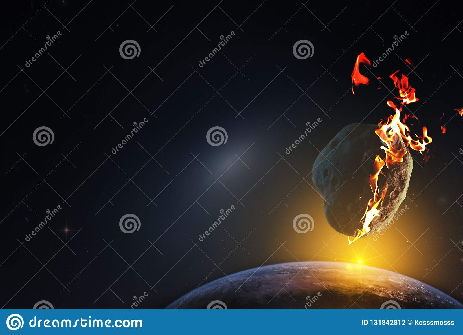 Zonsopgang over een planeet aan dood door de val van een meteoriet van de oneindige ruimte van het heelal wordt veroordeeld dat E