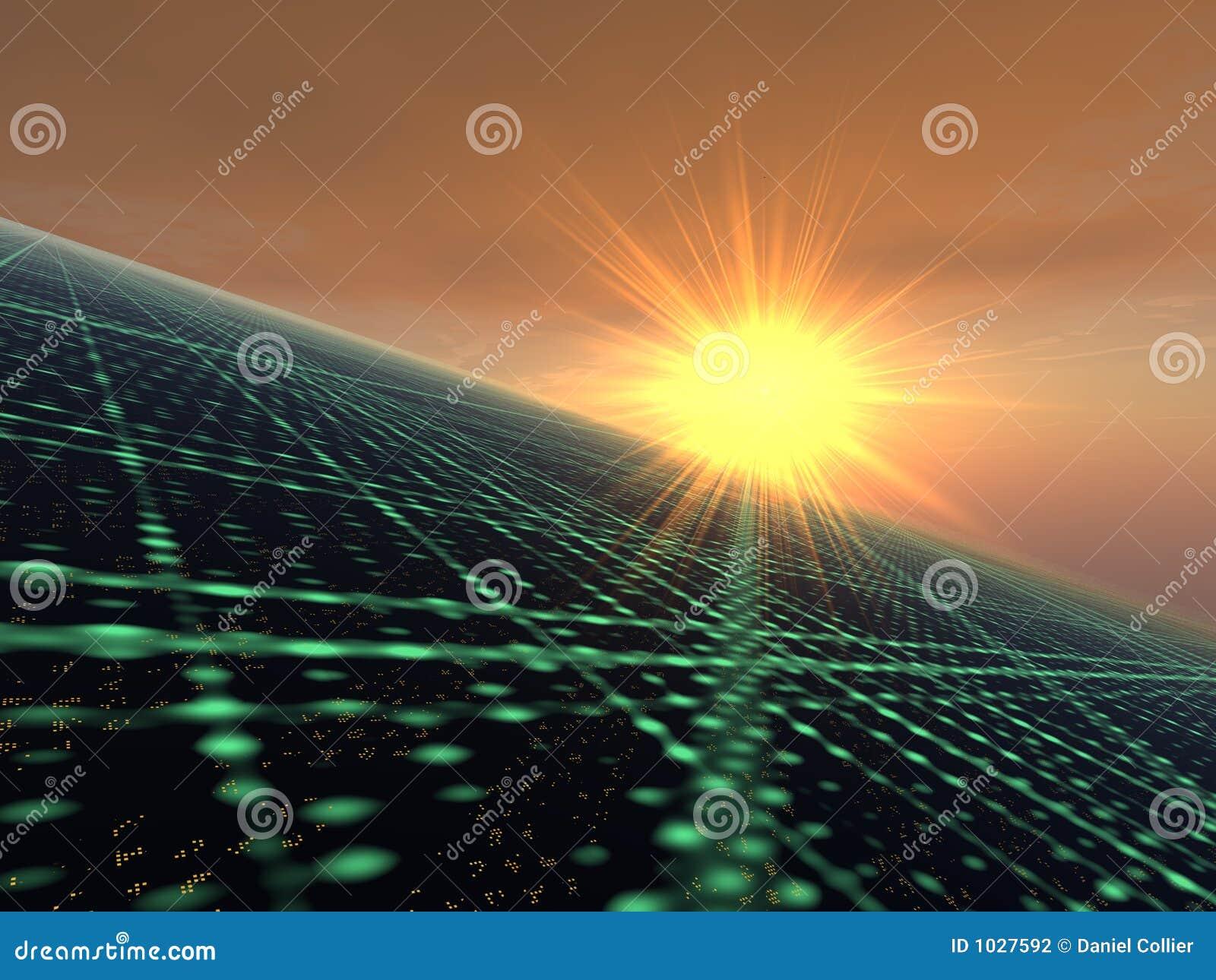 Zonsopgang over het Lichte Net van de Stad