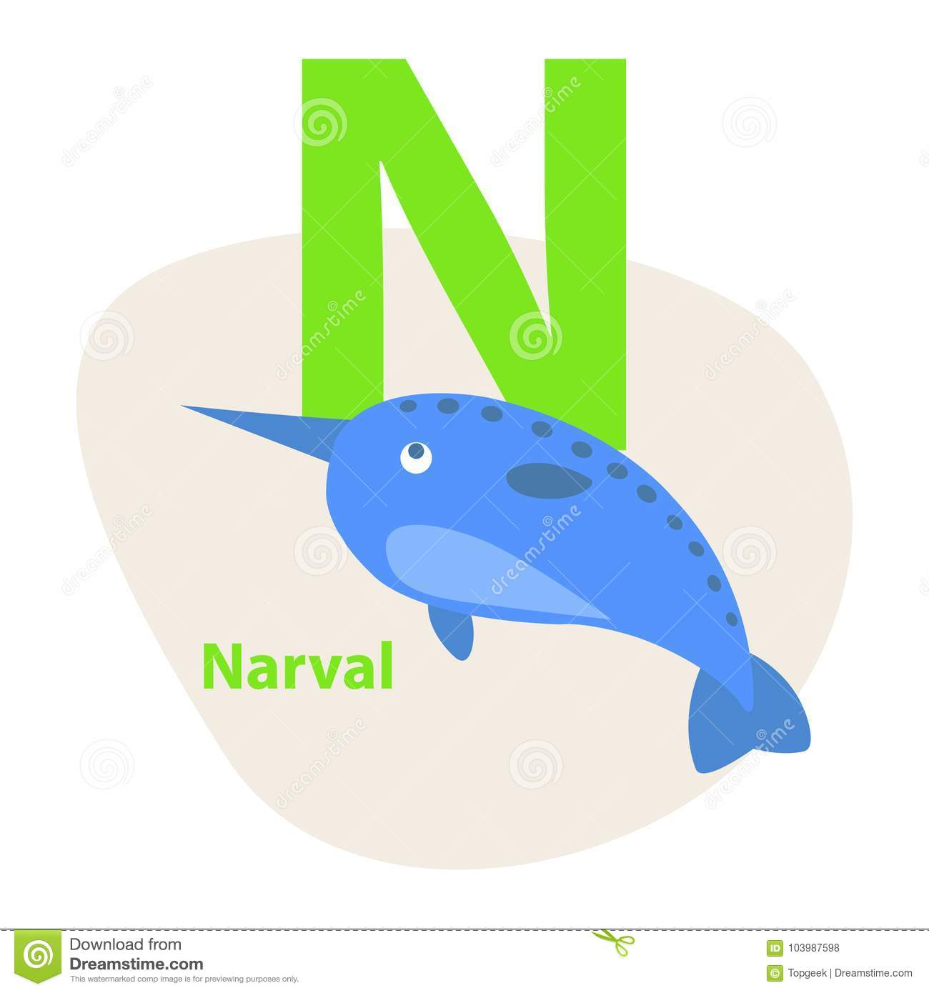 Image of: Letter Children Abc With Cute Animal Cartoon Vector English Letter With Funny Narwhal Flat Illustration Isolated On White Background Dreamstimecom Zoo Abc Letter With Cute Narwhal Cartoon Vector Stock Vector
